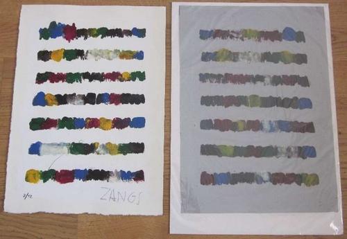 Zangs, HerbertOhne Titel. Monotypie und Serigrafie über Gouache. Signiert und nummeriert. Exemplar 7/12. 35 x 25 cm. Beiliegend: Original-Druckvorlage