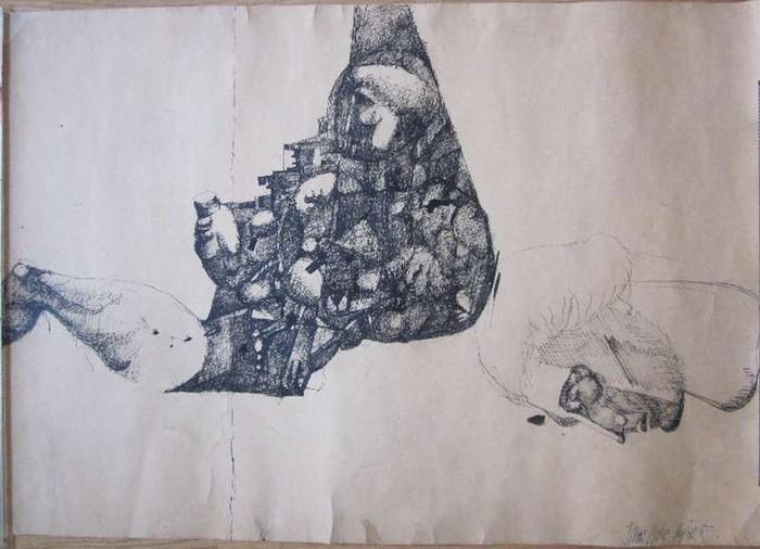 Lüpertz, MarkusOhne Titel. Tuschezeichnung. Ca. 43 x 60 cm. Unten rechts signiert