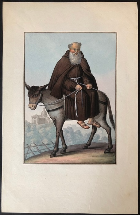 (Vito, Michaela de)Aquarell / Gouache. Kapuzinermönch auf einem Esel. Blattgröße: 36,8  x 23,6 cm.